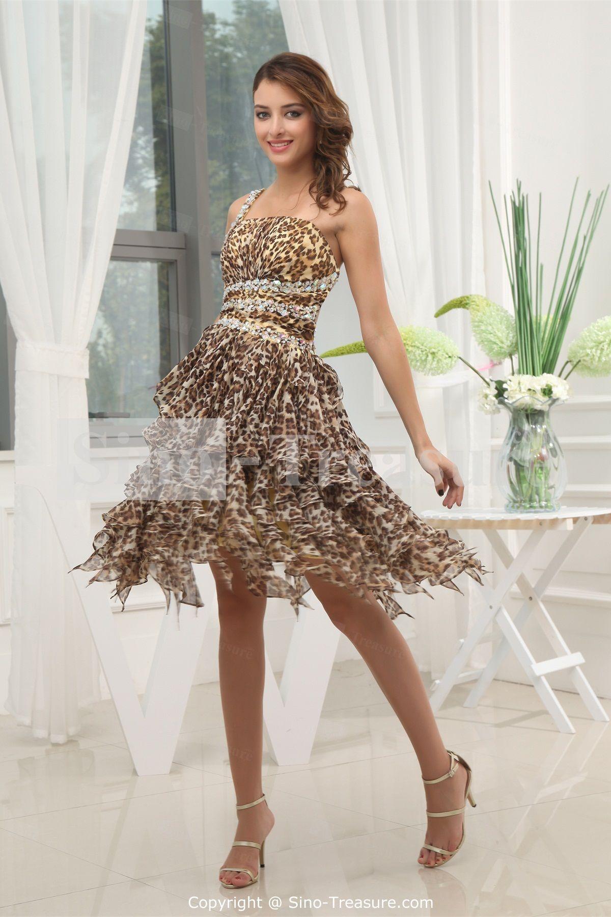 Fashion Leopard Printed Chiffon Sheath/ Column Knee-Length Prom ...