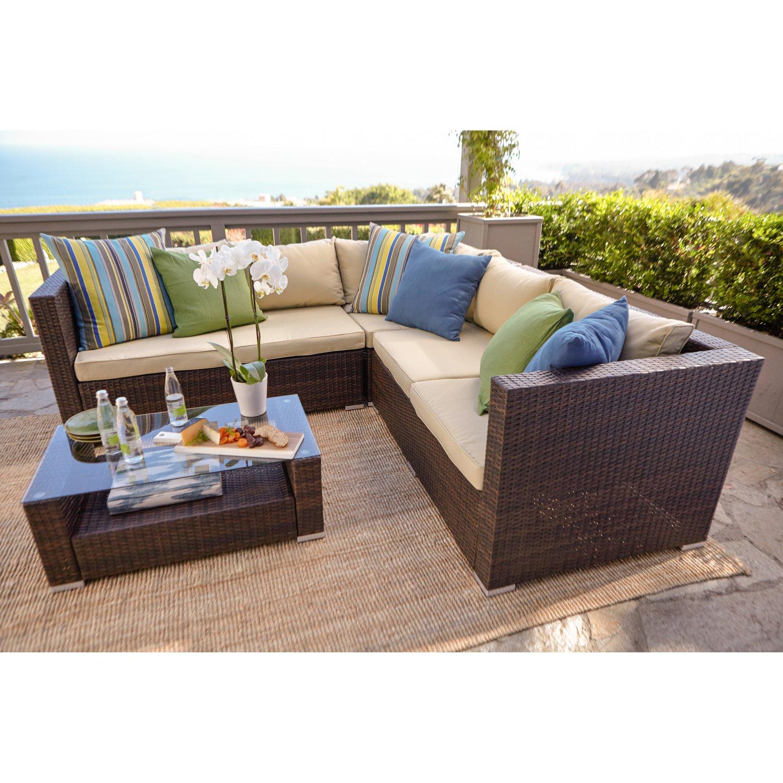 Incadozo Kessler 4 Piece Outdoor Wicker Sectional Sofa Set