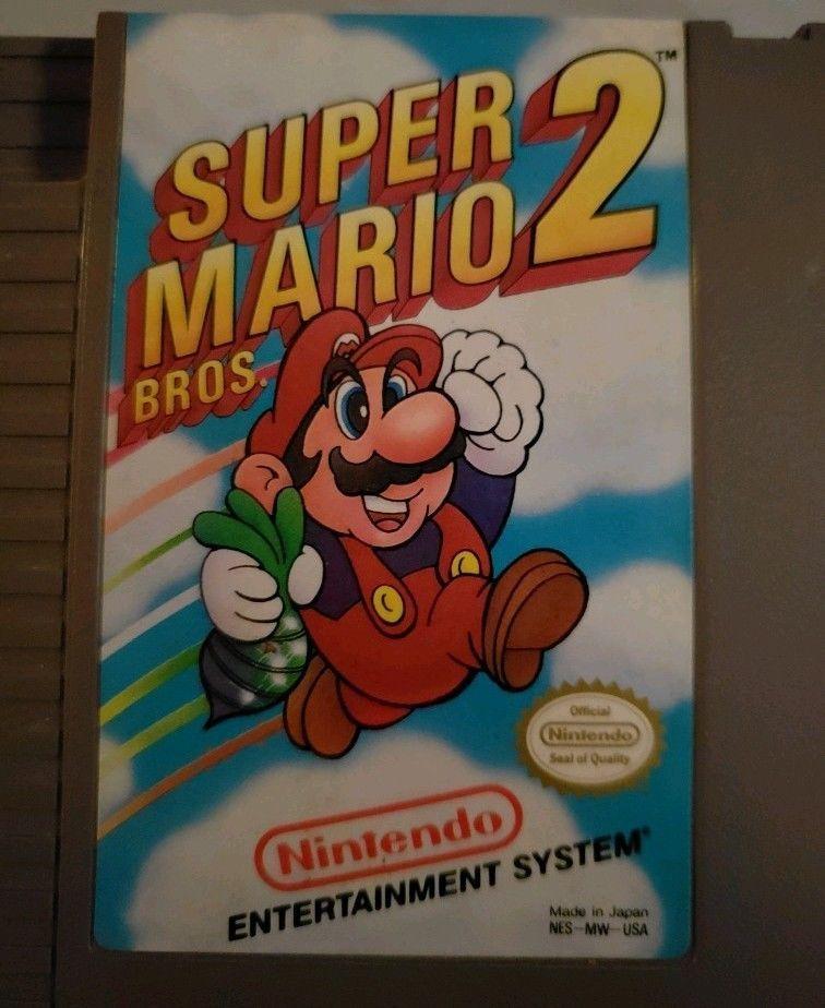 Nintendo NES Original Super Mario Bros  2 (1988) - Game and dust