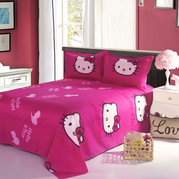 b44f4c9fe Home Textile Hello Kitty Bedding Set Cartoon Cotton Bed Set for Kids 4pcs  Include Duvet Cover