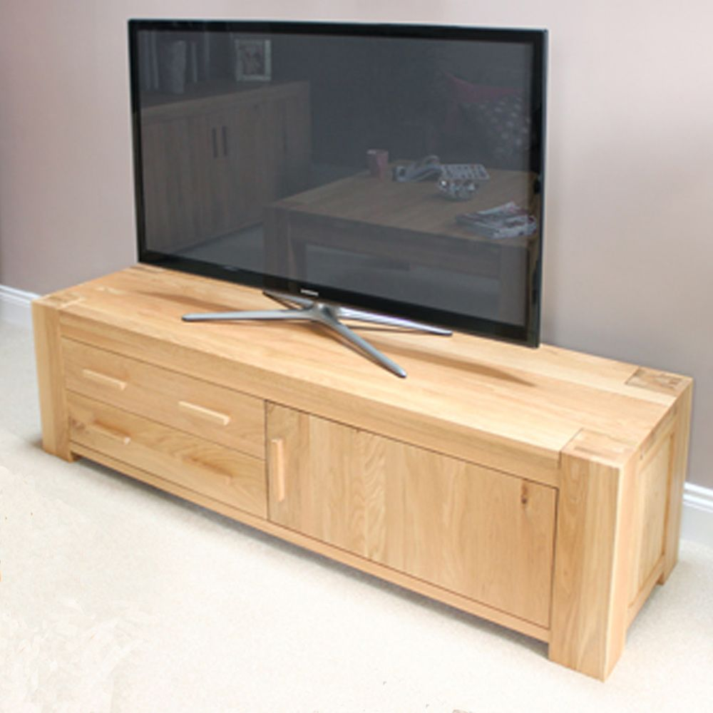 atlas oak widescreen television cabinet with drawers