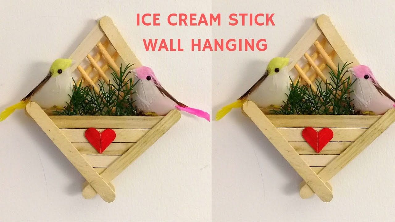 Diy Ice Cream Stick Craft How To Make Ice Cream Stick Wall Hanging Popsicle Stick Wall Decor Craft Stick Crafts Ice Cream Stick Ice Cream Stick Craft
