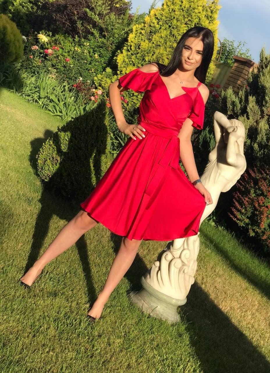 Red Ruffle Sleeves Bridesmaid Dresses 8