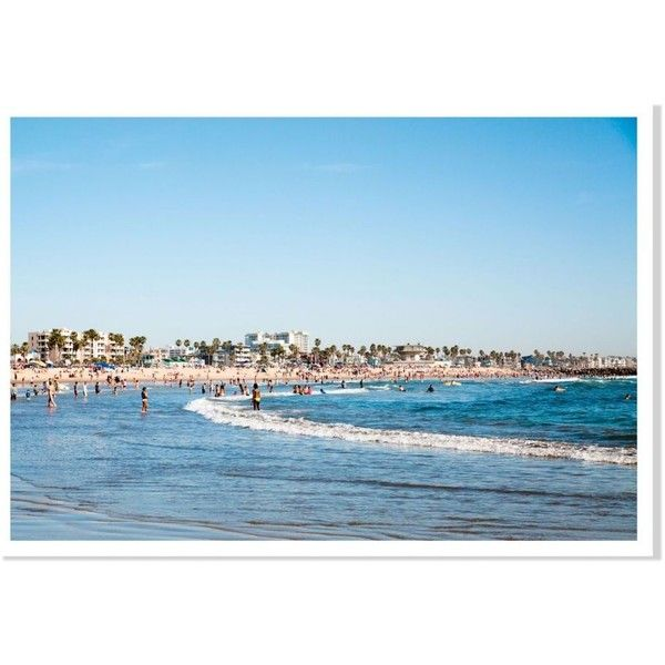 Domino Venice Beach Blue 14 x20 ($36) ❤ liked on Polyvore featuring home, home decor, wall art, posters, blue canvas wall art, canvas home decor, beach scene wall art, blue wall art and beach home decor
