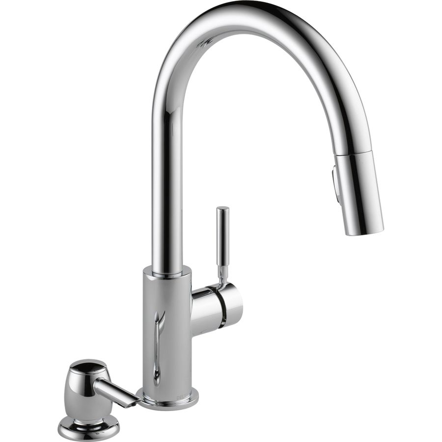 Delta Trask Chrome 1 Handle Deck Mount Pull Down Handle Lever Residential Kitchen Faucet Deck Plate Included Lowes Com Touch Kitchen Faucet Kitchen Faucets Pull Down Kitchen Faucet