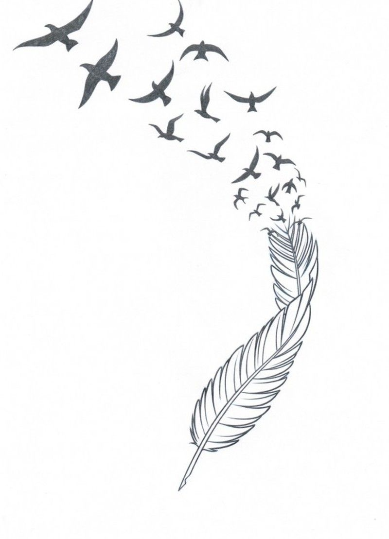 Feather n birds tattoo stencil | Stencil | Feather with ...