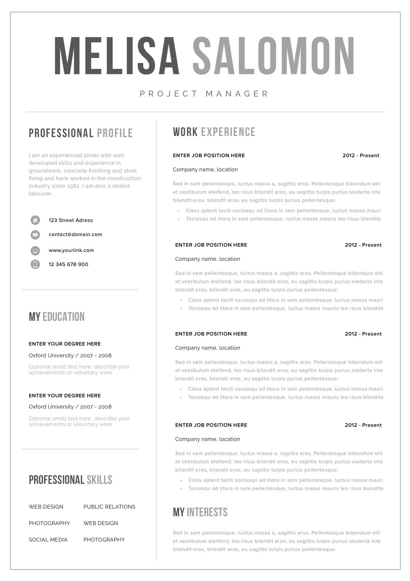 Professional Resume Template for Word Single page resume