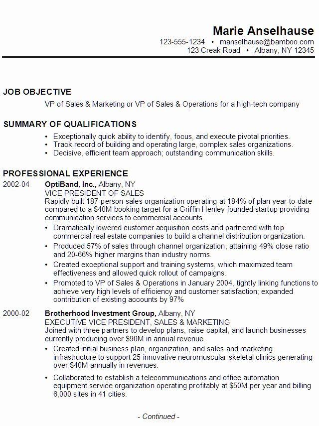 50 elegant vp of sales resume in 2020