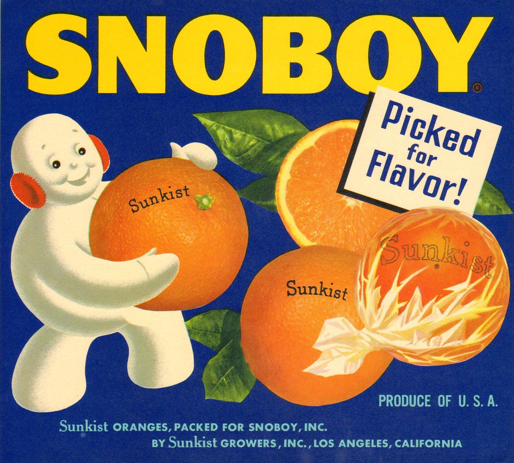 Snoboy Vintage Orange Crate Label.