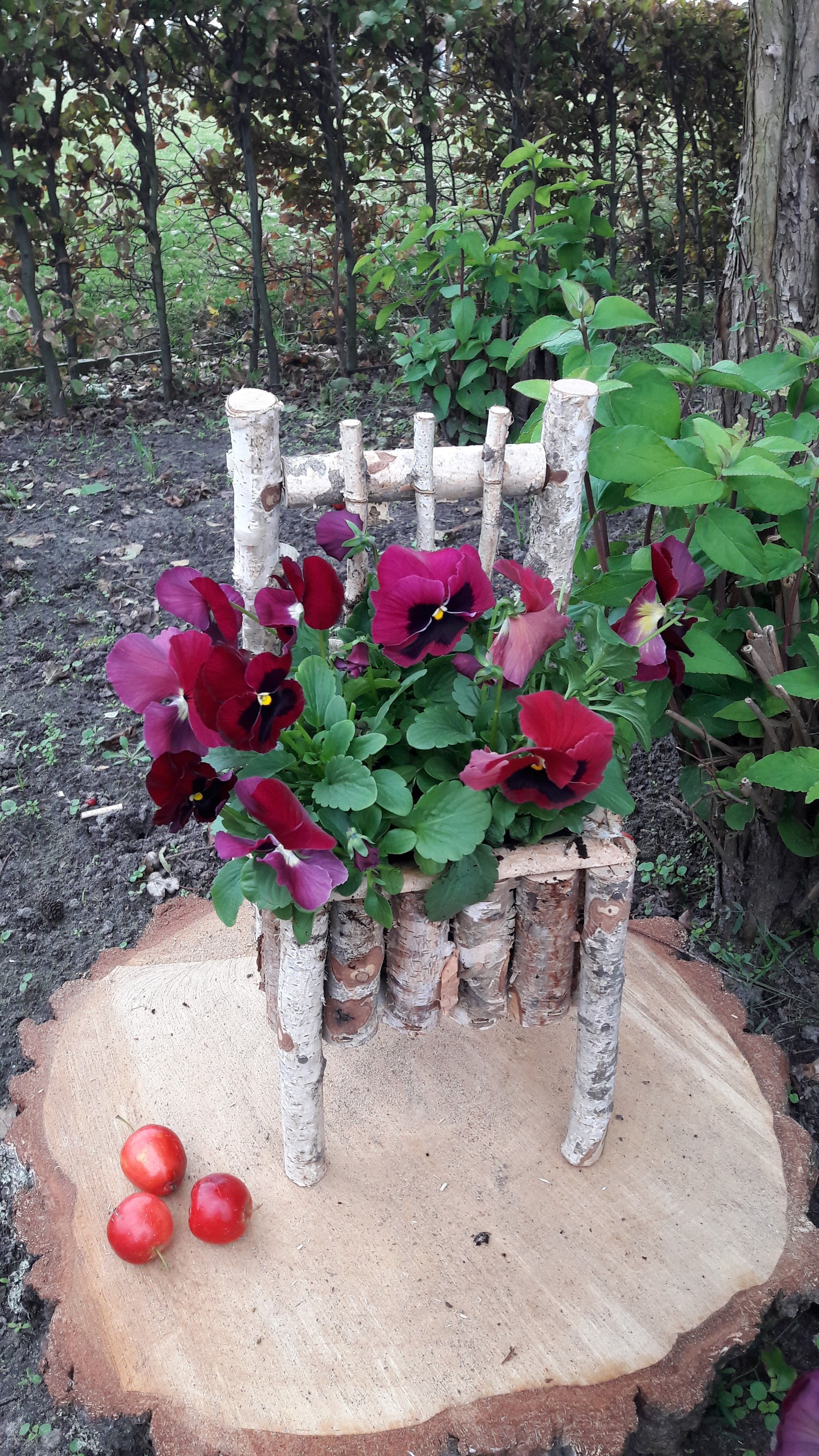 Birch Chair Planter Garden Whimsy Garden Crafts Garden Projects