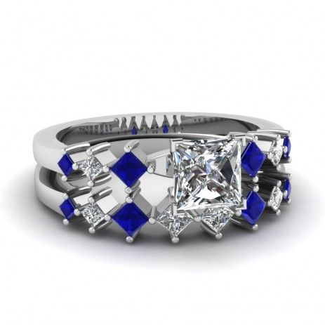 $89.95-Princess Cut Diamond Bridal Wedding Ring Set With Blue Sapphire Side Stones