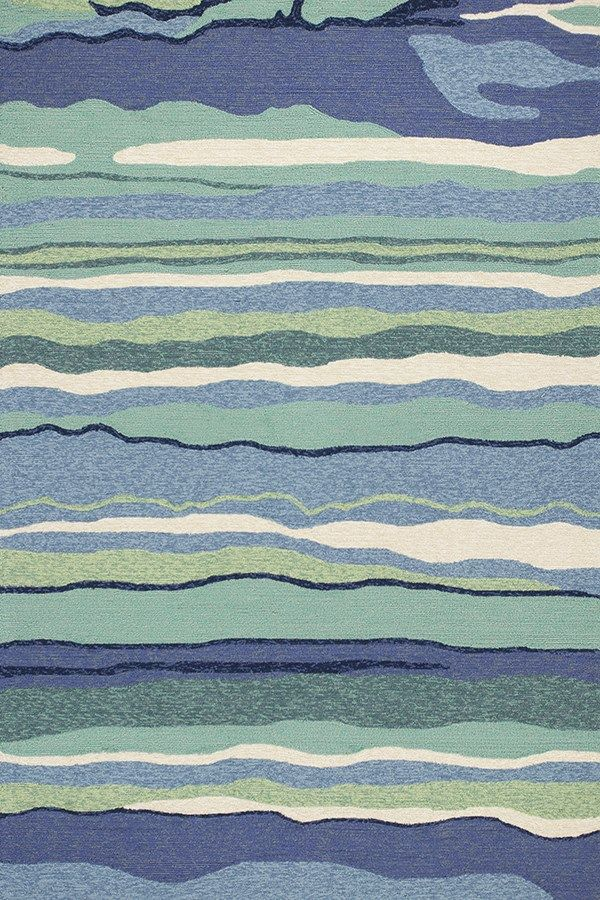 Kas Rugs Harbor 4216 Ocean Lagoon Hand Made Uv Treated Polypropelene Hooked For Indoor Outdoor Living X
