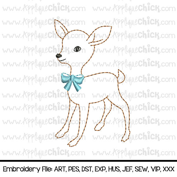 Vintage Deer Embroidery Design Fawn Embroidery Faux Hand