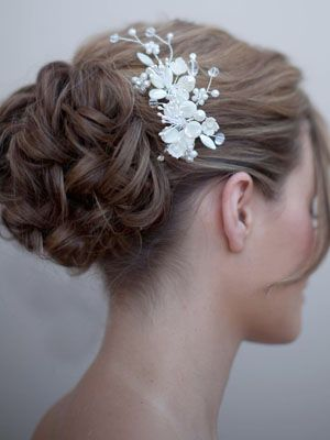 AA-S2200M  Mother of Pearl Bridal Hair Comb  with Pearl and Rhinestone Accents