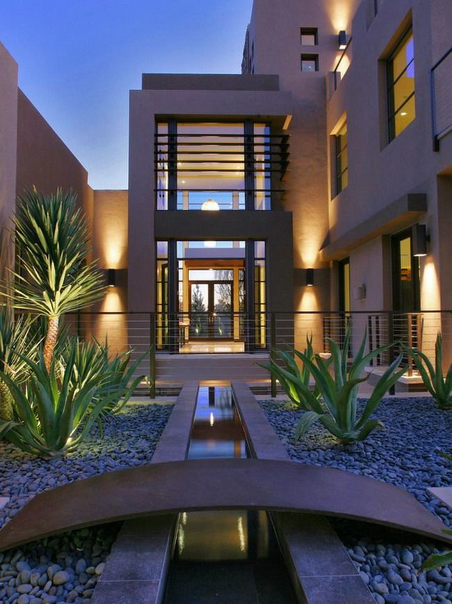 Modern las vegas patio garden style with small brigde design and beautiful cactus plant