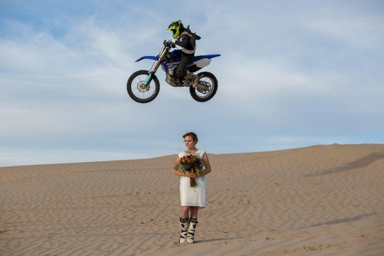 Motocross Bridal Groom On A Dirt Bike Wood Wedding Band