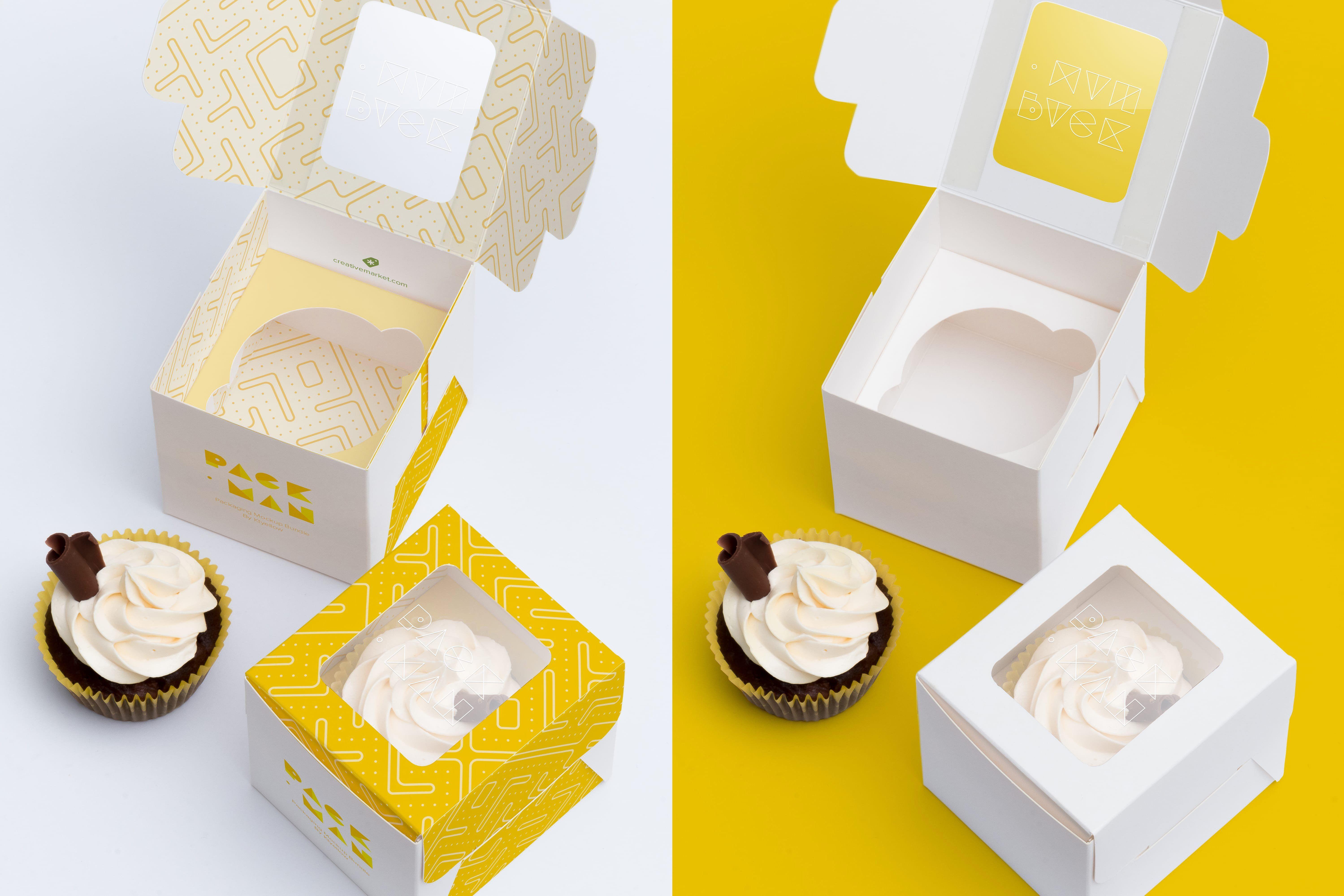 Download One Cupcake Box Mockup 01 Box Mockup Cupcake Boxes Mockup