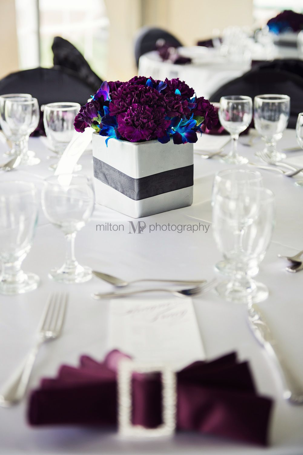 Purple Blue Black And White Wedding Decor I Like This For Table