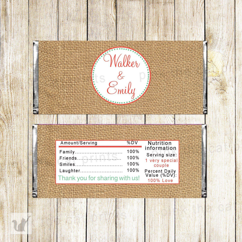 Candy Bar Label Wrer Burlap Rustic Wedding Bridal Shower