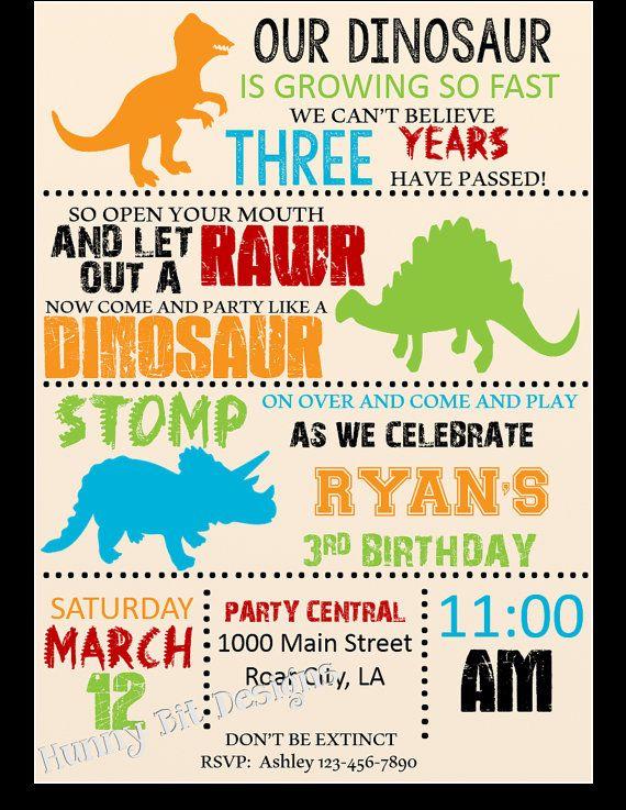 Dinosaur RAWR Birthday Invitation Boy By HunnyBitDesigns On Etsy - Dinosaur birthday invitation card template