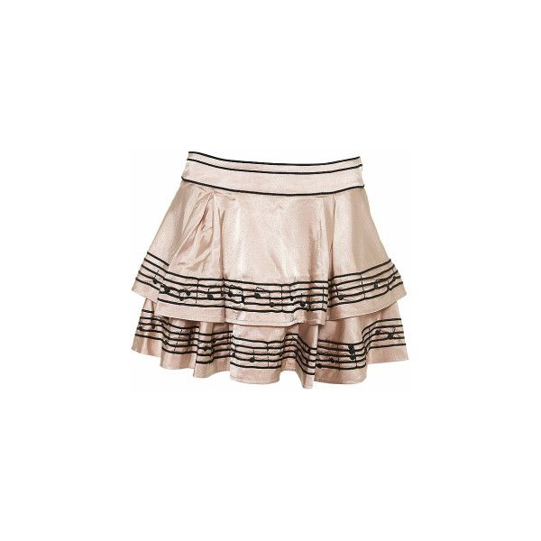 WANTED Music Note Skirt ❤ liked on Polyvore featuring skirts, bottoms and pink skirt