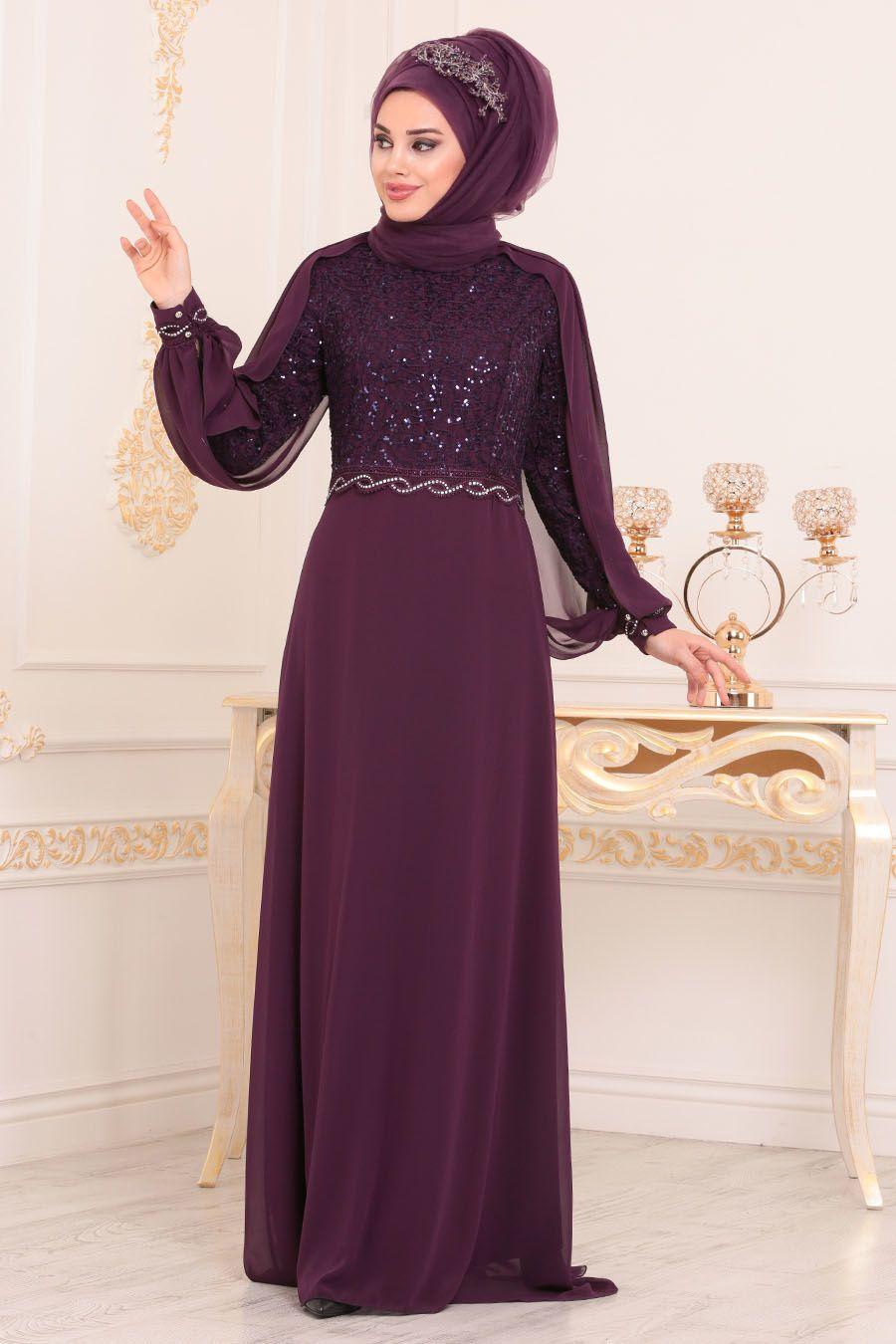 76c16650f5c33 Nayla Collection - Pul Detaylı Mor Tesettür Abiye Elbise 25736MOR ...
