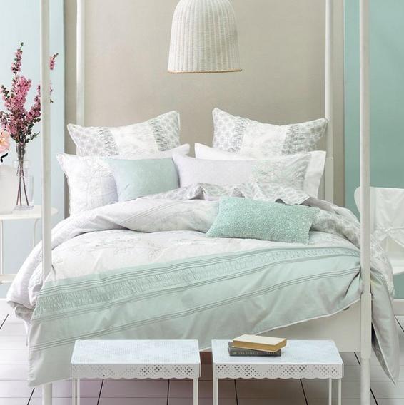Lovely Mint And Cream Mint Bedroom Mint Green Bedroom Apartment Bedroom Design