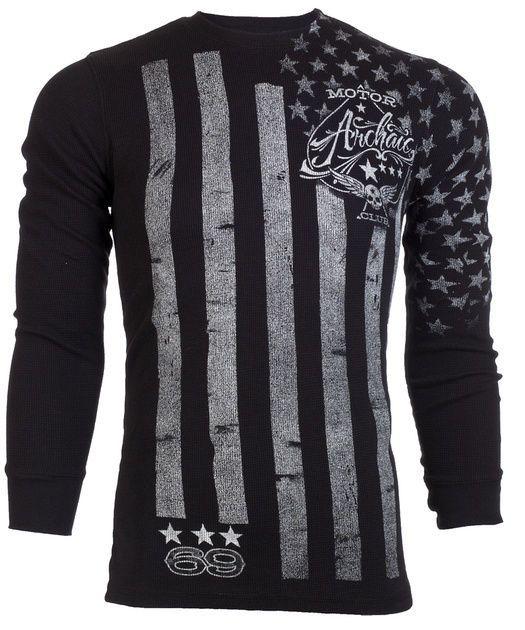 Archaic AFFLICTION Mens THERMAL T-Shirt NATION Tattoo USA FLAG Biker M-3XL  $58