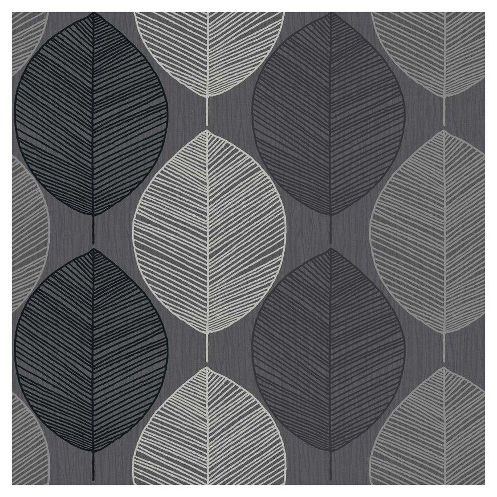 Arthouse Opera Retro Leaf Black Wallpaper 0.53x10.5M