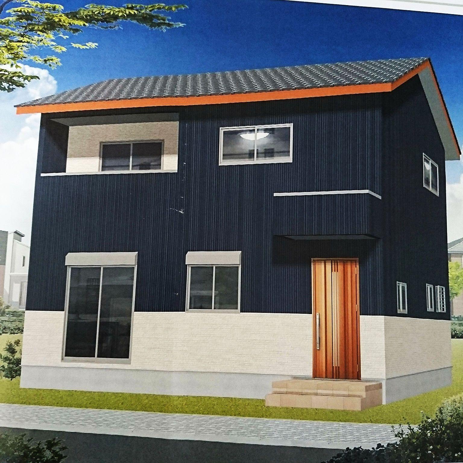ガルバリウム外壁 瓦屋根 部屋全体 外観イメージ ネイビーブルーの家