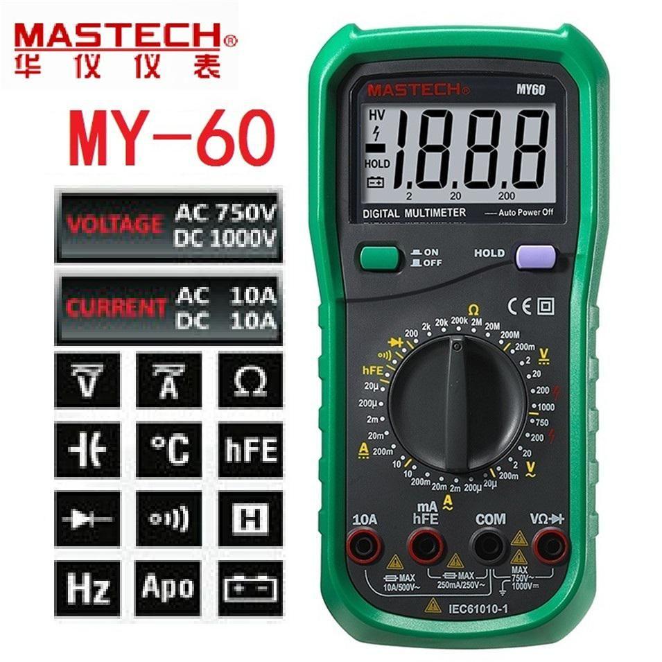 Mastech My60 Digital Multimeter Dmm Ac Dc Voltmeter Ammeter Ohmmeter Circuit Tester Multitester W Hfe Test Multimetro Yesterdays Price Us 2257 1963