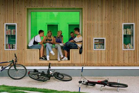An Open-air Library by KARO in Germany - Cool seats within a wall