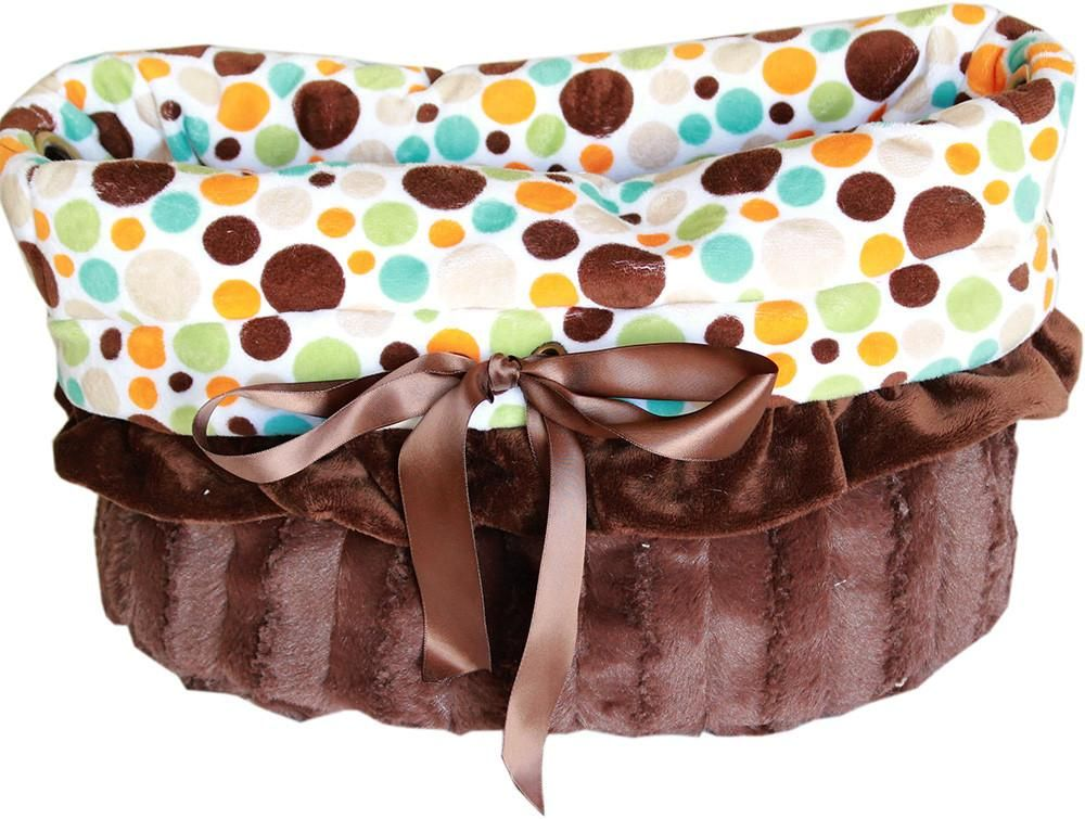 Fall Party Dots Reversible Snuggle Bugs Dog Bed, Bag, and