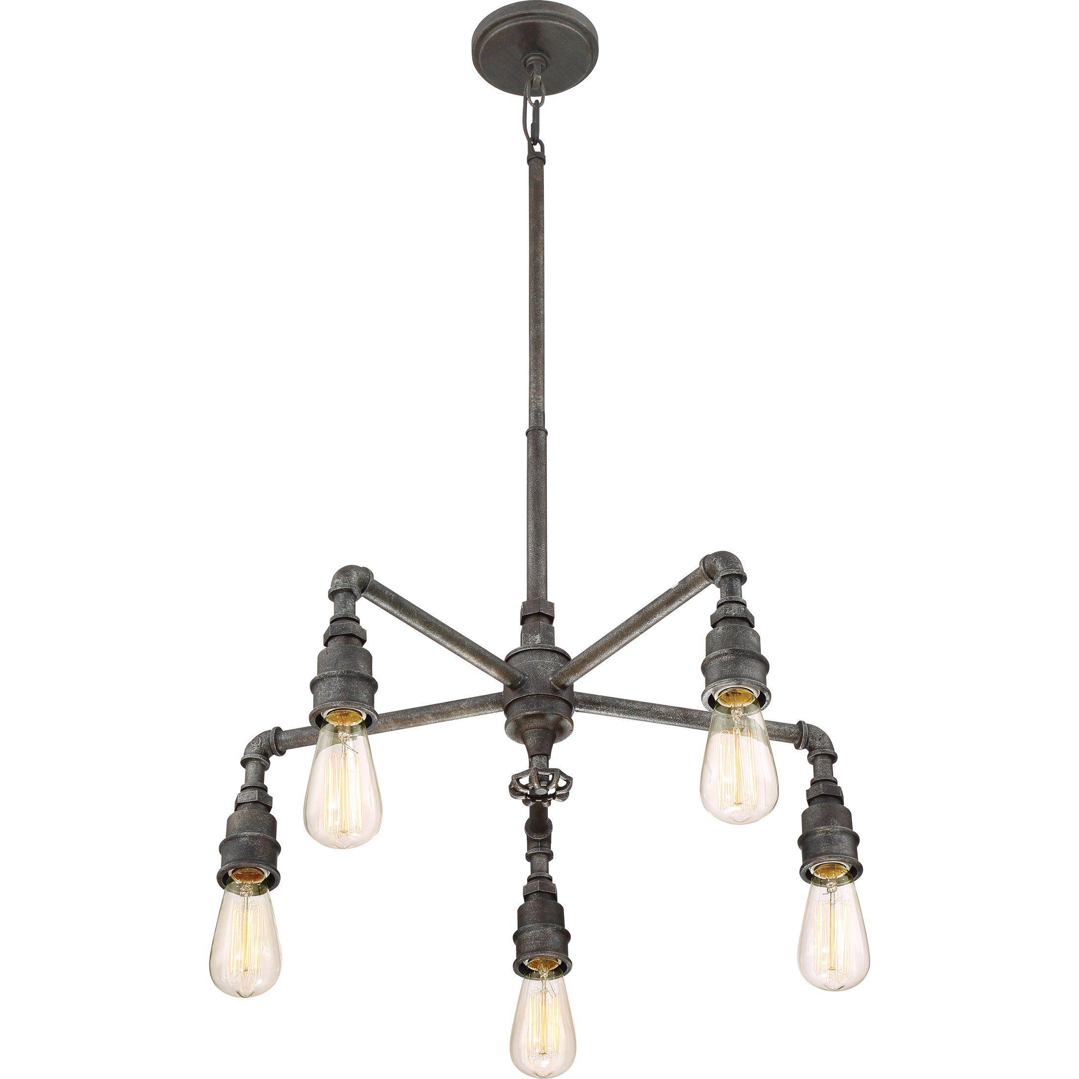 Quoizel Sqr5005Rk Five Light Chandelier Large Rustic Black ** Want