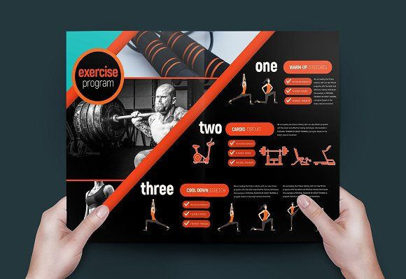 A3 Gym Fitness Brochure Template @creativework247 Brochure Design