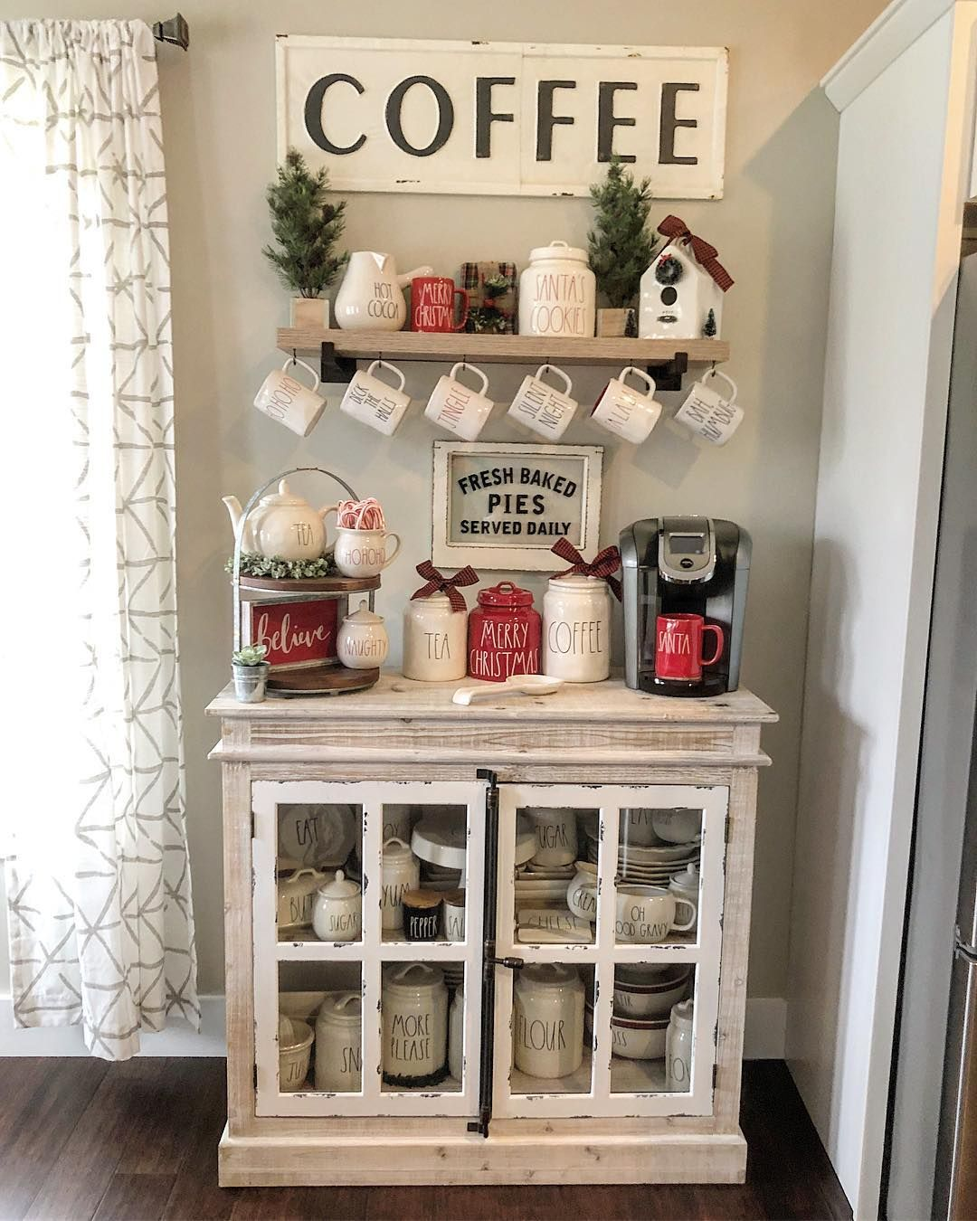 "Modern Farmhouse Decor|Charity on Instagram: ""Sharing one of my absolute favorite spaces in our home! My handy husband made me this beautiful coffee bar for our anniversary this year!…"""