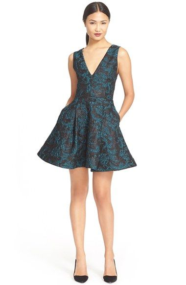 9fab49e2743 Alice + Olivia  Malory  Pleated V-Neck Fit   Flare Dress available at   Nordstrom
