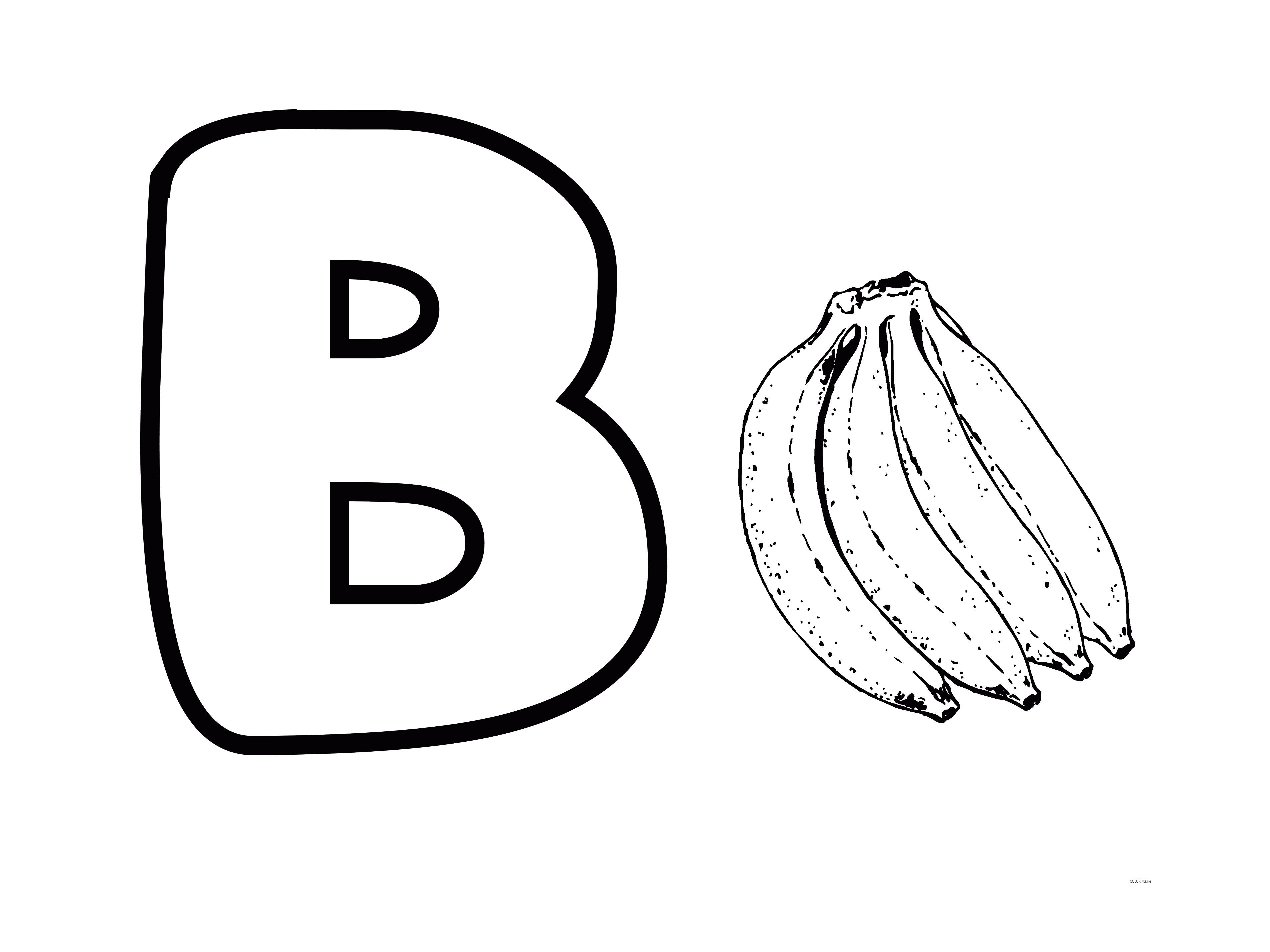 Letter B Banana And Sweet Coloring Pages