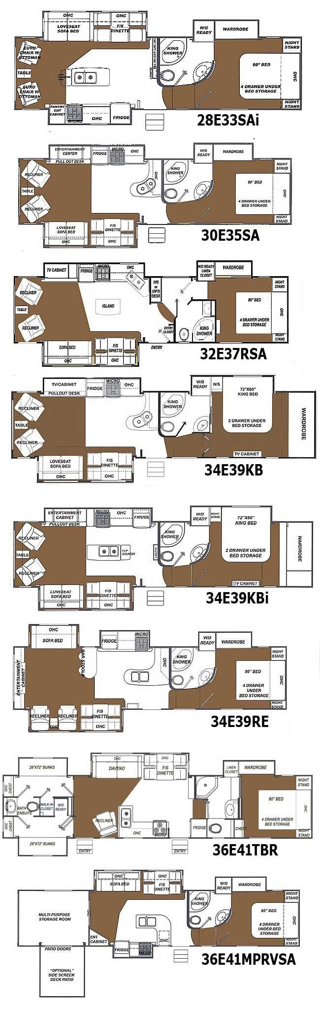 Glendale Titanium fifth wheel floorplans - 8 layouts | RV Baby ...