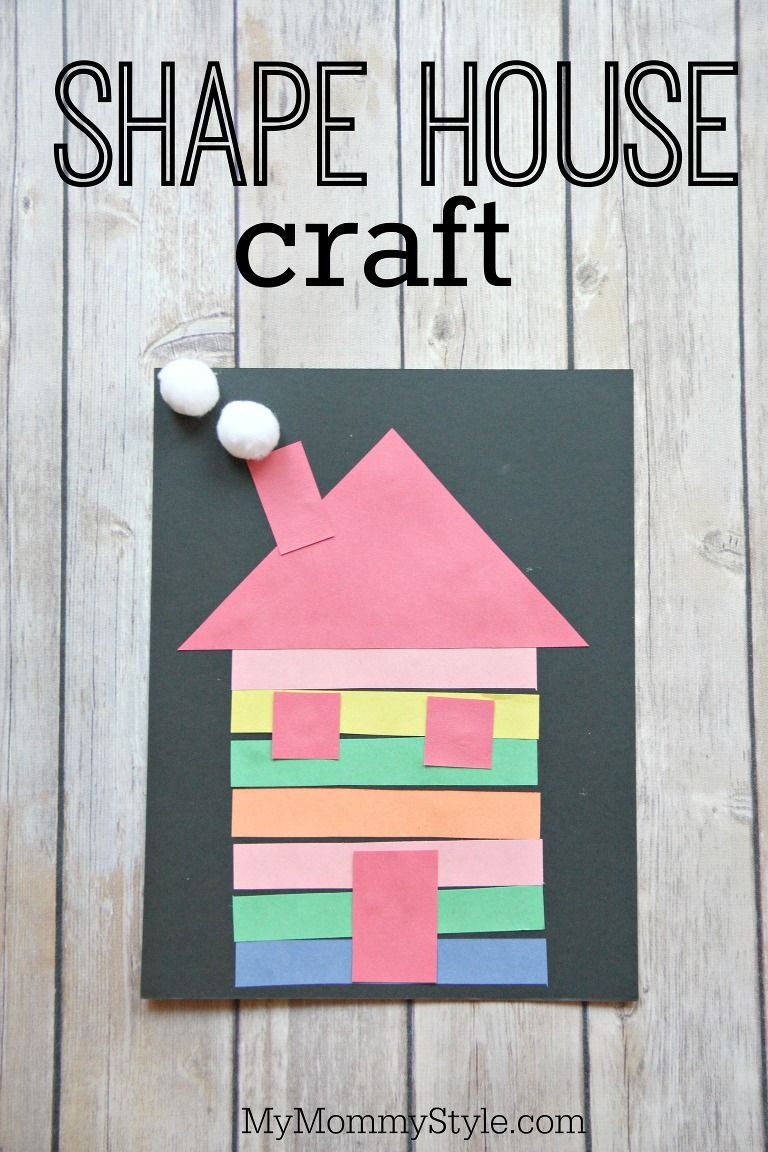 Colorful shape house craft | Kinderhaven | Pinterest | Shapes, Craft ...