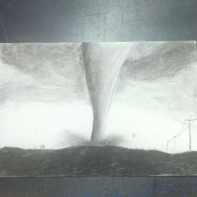 Charcoal drawing of a tornado  2nd charcoal