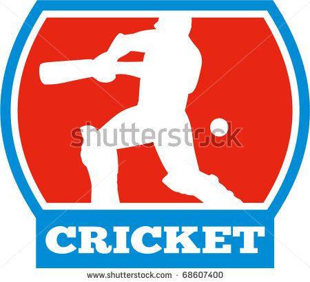 vector illustration of a cricket sports batsman silhouette batting - stock vector #cricketworldcup #retro #illustration