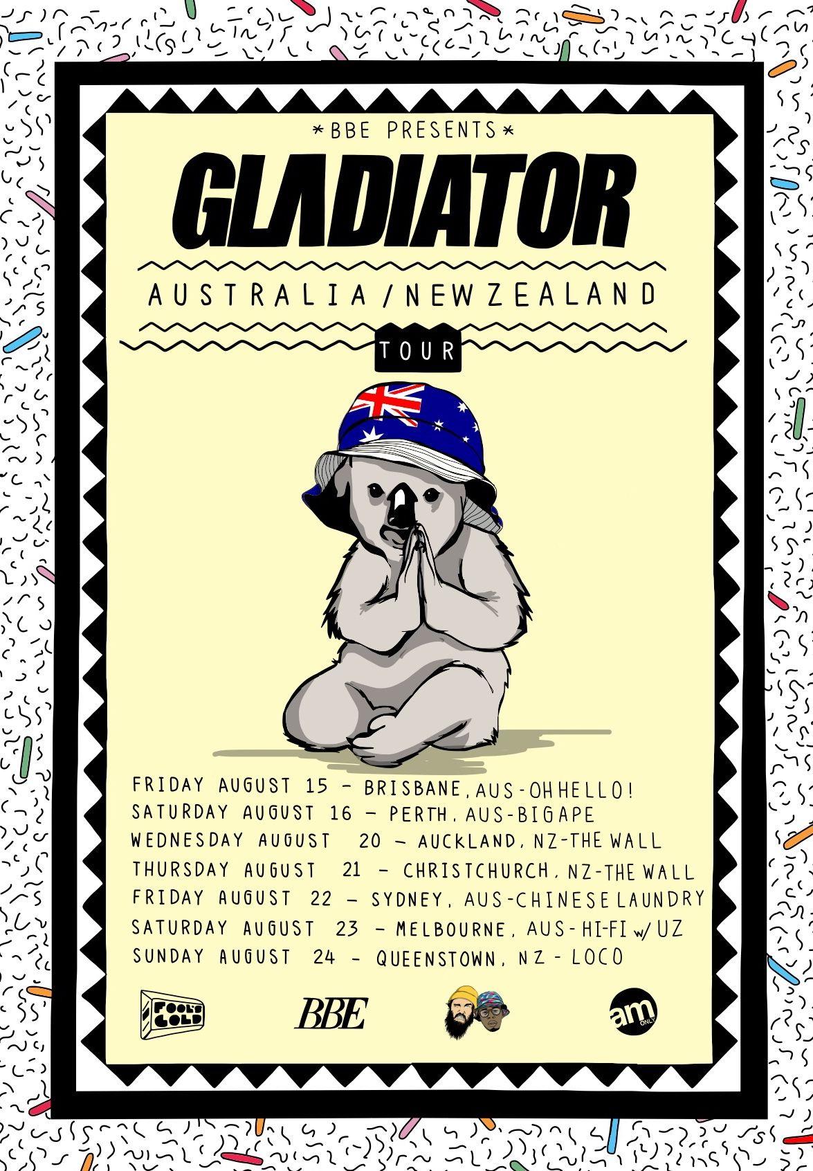 BBE presents GLΛDIATOR: Australia / New Zealand tour poster by dEMOx ...