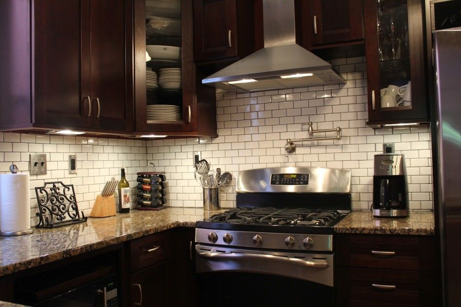 Cherry Cabinets Counters White Tile With Dark Grout Trendy Kitchen Backsplash Backsplash With Dark Cabinets Brown Kitchen Cabinets