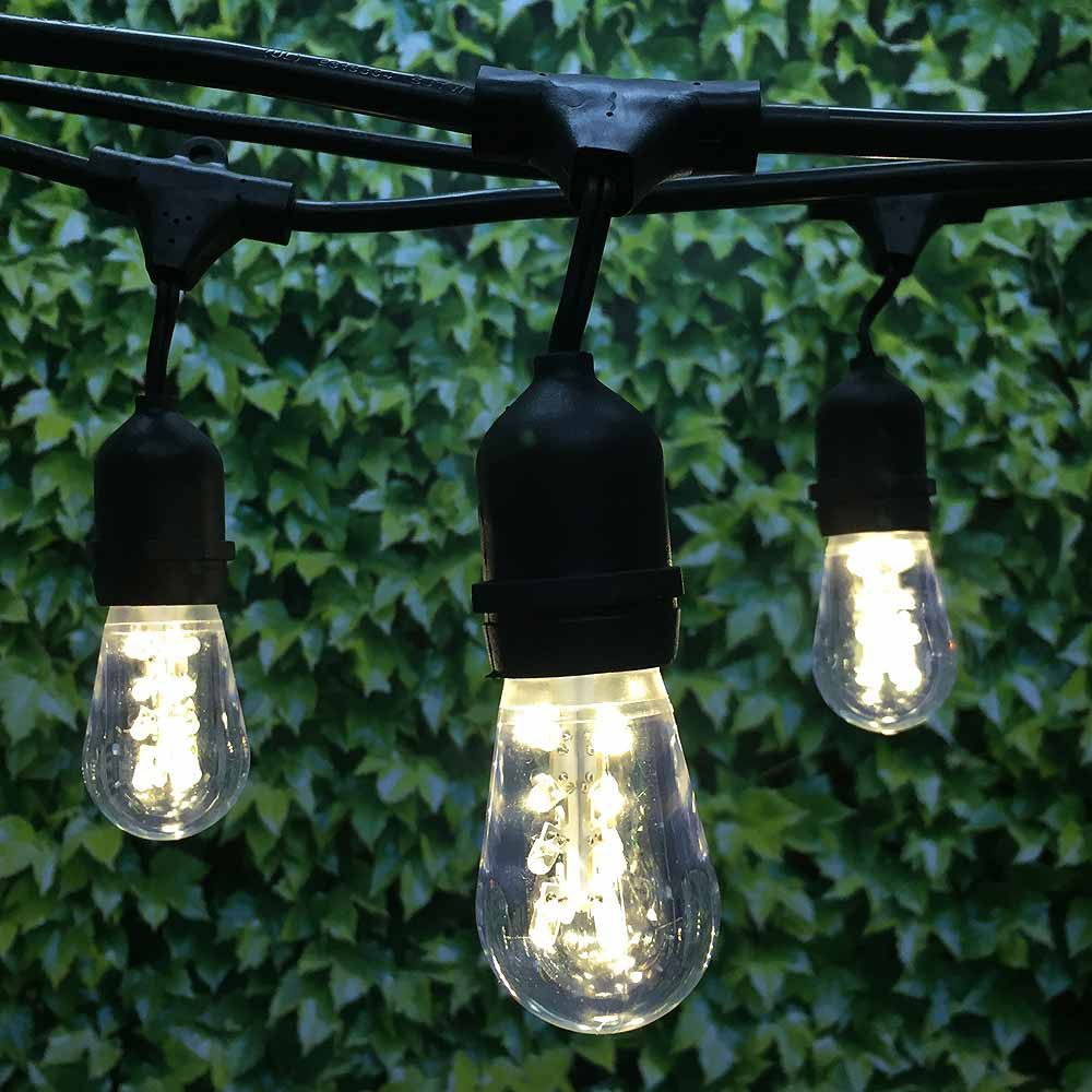 48 Ft Black Commercial Medium String Light W Suspender With Led Premium S14 Warm White Bulbs