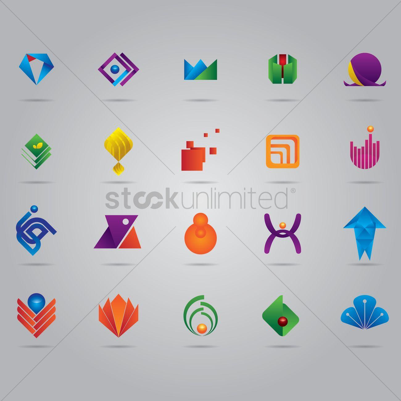 Abstract logo element set vectors stock clipart