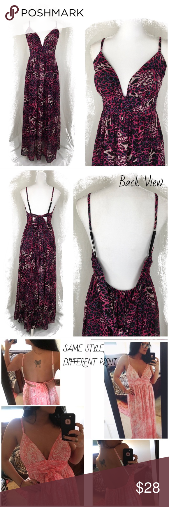 29740c89d4 Moda International Animal Print Chiffon Maxi Dress Size L. Excellent  like-new condition!