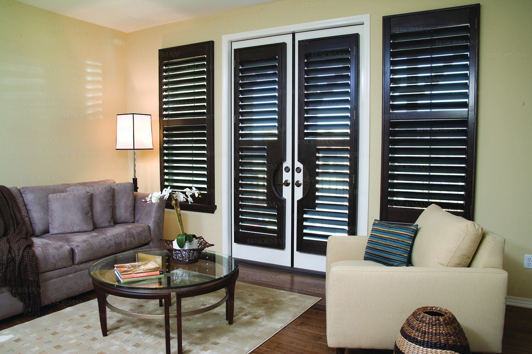 Interior Exterior White French Doors With Black Venetian Blinds