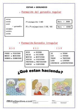 Ejercicios (4 hojas ) para aprender y  practicar ESTAR+GERUNDIO.Aquí tenéis una actividad del Instituto Cervantes para practicar estar+gerundio. http://cvc.cervantes.es/ensenanza/actividades_ave/nivelI/actividad_48.htm - Trabajos ELE