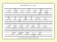 Ccw Cursive Lined  Alphabet Worksheet With Baseline Sheen Mount